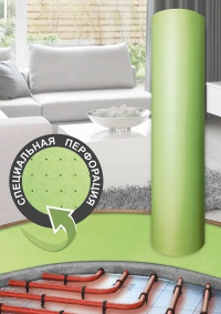 Perforated roll underlay for heated floor